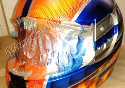 Orange and Blue Helmet